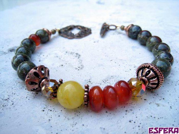 Earthy, gemstone bracelet with dragon blood jasper, carnelian, golden cream quartz, crystals and copper beads by Esfera jewelry