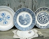 Vintage Plates, Blue and White, Set of 3