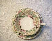 Victoria C & E Peony High Tea Cup Saucer Gold Floral //