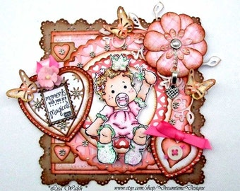 Magnolia Tilda Papercraft Design - Premade Scrapbook or Card Topper - Baby Girl Scrapbooking Title Topper