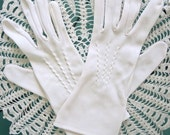 Vintage 60's White Gloves with Detailed Stitching  Mid Length Size 7