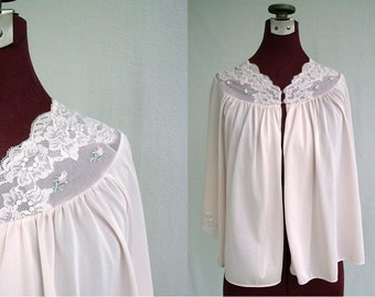 Vintage 60s Bed Jacket Pastel Pink with Lace Small