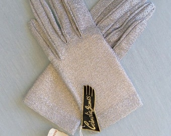 Vintage 60s Silver Lurex Gloves By Cornelia James, Glove Maker to the Queen  Size 6  Mint