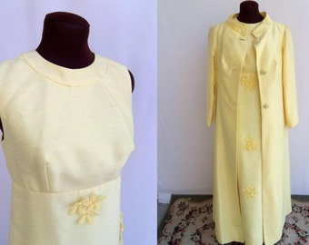 Vintage 60s Maxi Formal Dress with Coat Pastel Yellow Floral Appliques Like New Size S / Small
