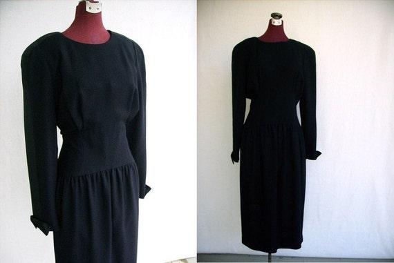 Vintage 80s Dress Dark Navy Party Work Designer Retro 40s Style Size M / Medium