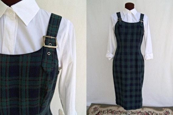 Vintage 80s Dress Jumper Plaid School Girl Style