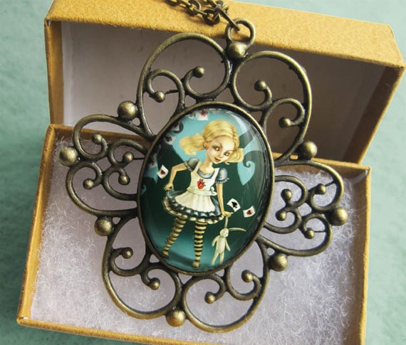 ALICE IN WONDERLAND Necklace -Cameo Glass Pendant - Fairytale Art Jewelry