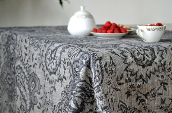 Items Similar To Linen Tablecloth Luxury Black With Gray Tablecloth Damask  Tablecloth Occasional Table Decor Eco Friendly Tablecloths 35 X 60 Inch On  Etsy