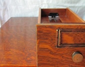 Library Card Catalog File Tiger Oak Two Drawer Cabinet Brass Plate Knob Index File Box Beautiful