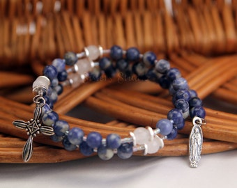 Our Lady of Guadalupe Rosary Bracelet, Sodalite and Snow Quartz