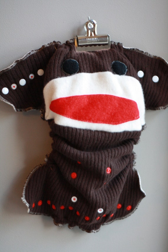 Monkey Business Sock Monkey One Size Wool Cloth Diaper Cover