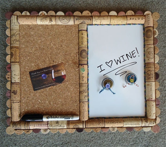 Wine Cork Message board, Magnetic and Dry-erase