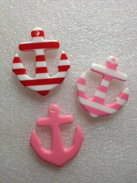 CuTe aNChORs Flatback Resin Cabochon 3 pieces USA SHIPPING 50% oFF wiTh CoUpOn CoDe: SALE50