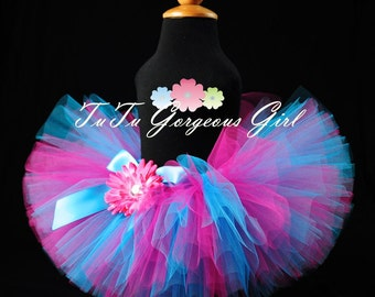 Hot Pink & Turquoise Birthday Tutu...Diva Tutu, Dance Tutu, Photo Prop...Newborn, Baby, Toddler, Girls . . . SUDDENLY SASSY
