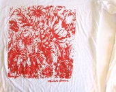 Orange Floral Long Sleeve Screen Print Shirt -  Beach Cover Up - Women Shirt Floral - Vneck - Summer White Cotton Shirt