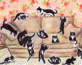 Cat Art Print - Cute Kittens - Black and White Cats - Wall Art Black Cats - Nursery Decor - Baby Room Art - Kittens on the Couch