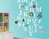 Nursery Decal - Alphabet Vinyl Decal - Animal alphabet - Monogram decal - Original design by SecretoftheCat