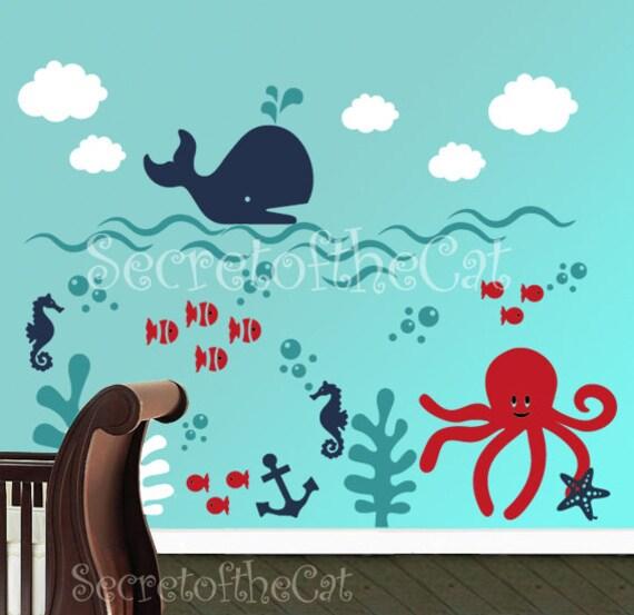 Wall decals nursery - Nursery wall decal - Underwater decal - Children Wall Decal - Sea