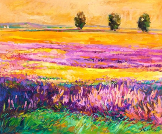 Summer scenery 24x20 in, Landscape Painting Original Art Impressionistic OIl on Canvas by Ivailo Nikolov