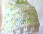 Colorful White Speckled Childs Hat With Pom-Pon, Baby Pastel Winter Hat