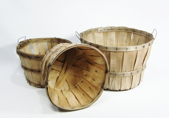 Rustic wood fruit baskets