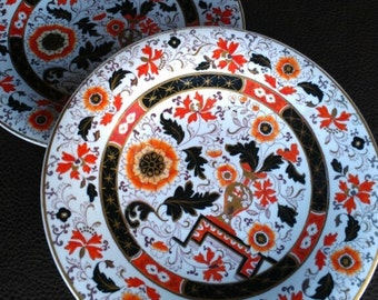 "Ashworth Ironstone China PAIR Plates, 8.75 in. Intricate Imari Syle. ""Franklin"". Flowers Urn Navy Black Orange Gold. 1862. Autumn Halloween!"