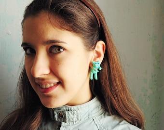 Mint cat Ear Jackets fake gauges - mint earrings, cute ear studs, fun earrings, gift for her girl ear jackets green blue - made to order
