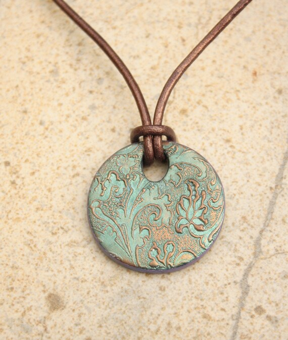 Brown Leather Necklace Lace Textured Pendant Seafoam Green Bronze