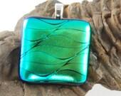 green dichroic glass pendant uk