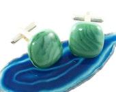 green fused glass cufflinks uk