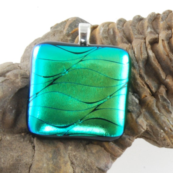 green dichroic glass pendant uk