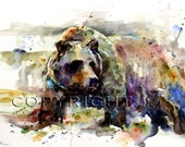 """GRIZZLY BEAR Extra Large 24 x 36"""" Watercolor Print by Dean Crouser"""
