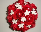 Real Touch Red Rose Bouquet with Rhinestones and Stephanotis with Pearls, Real Touch Rose Bouquets, Wedding Floral Package