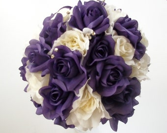 Purple and White Rose Wedding Bouquet,   Purple and White Bridal Flowers,  Wedding Floral Package,  Destination Wedding Flowers