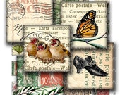 carte postale 1 x 1 inch square images Printable Download Digital Collage Sheet diy jewelry pendant vintage postcard stamp butterfly bird