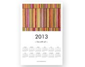 2013 POSTER CALENDAR - red gold stripes - abstract modern painting - contemporary interior design