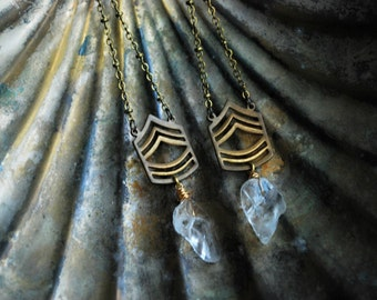 Daggers...Clear Quartz and Vintage Brass Chain Earrings