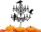 Spooky Chandelier decal - Vinyl Wall Sticker - Halloween decorations - ravens crows