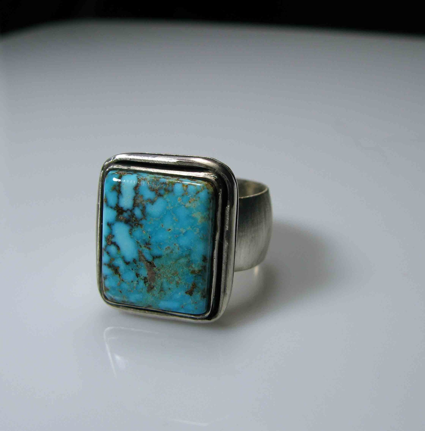 turquoise ring size 10 mens jewelry by hotroxcustomjewelry