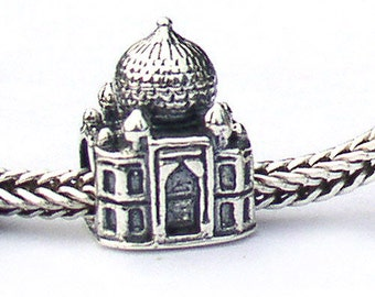 Taj Mahal India Sterling Silver Landmark Charm Bead LM008