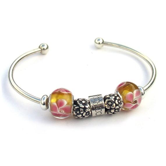 Mom Bracelet Sterling Silver European Bead Bangle