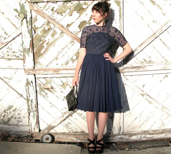 1950s vintage dress - navy blue lace and tulle