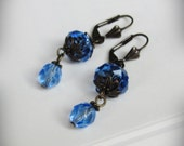 Sapphire Blue Crystal Dangle Earrings, Romantic, with Brass Filigree Accents