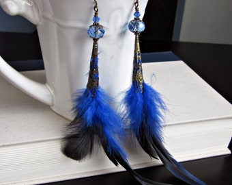 Blue Feather Earrings, with Antiqued Brass and Blue Crystal Beads