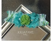 Teal and Green Shabby Chic Flower Baby Headband, Newborn Headband, Child Headband