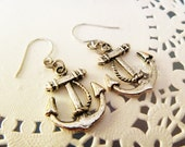 Tibetan Silver Anchor Earrings