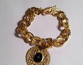 Charm Bracelet Yellow Gold Jewelry Black Cabochon Jewellery Thick Chunky Fashion Power Mystery Chain Filigree