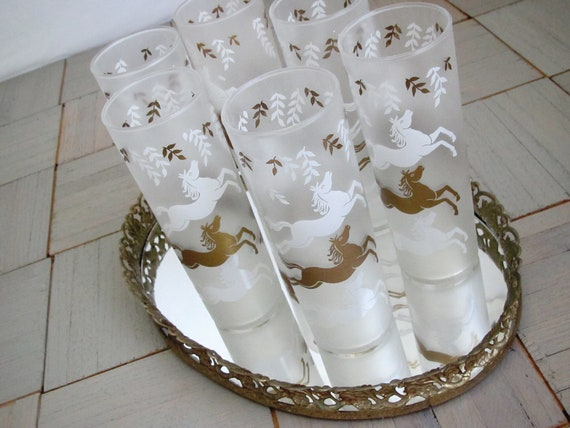 Mid Century bar ware     prancing horse     frosted glasses     set of 6     Libbey  Calvacade