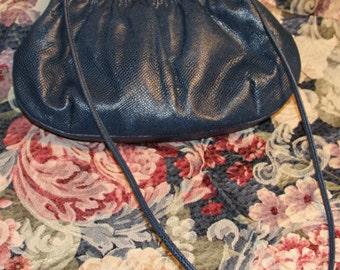 Blue leather vintage purse. 1980's