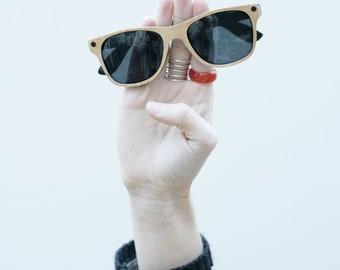LIMITED EDITION Wooden Wayfarer Sunglasses Birds Eye Maple Wood Veneer Sunglasses